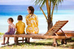 Family enjoying ocean view